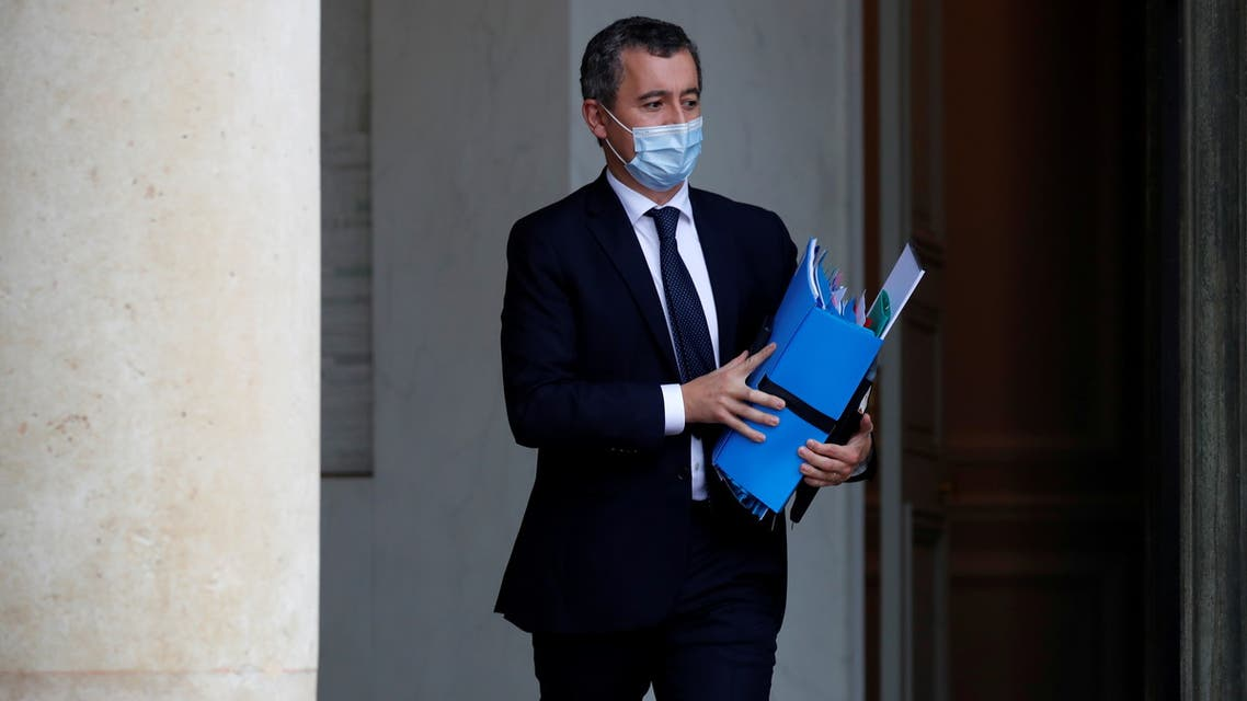 French Interior Minister Gerald Darmanin, wearing a protective face mask, leaves following the weekly cabinet meeting at the Elysee Palace in Paris, France, October 28, 2020. REUTERS/Charles Platiau