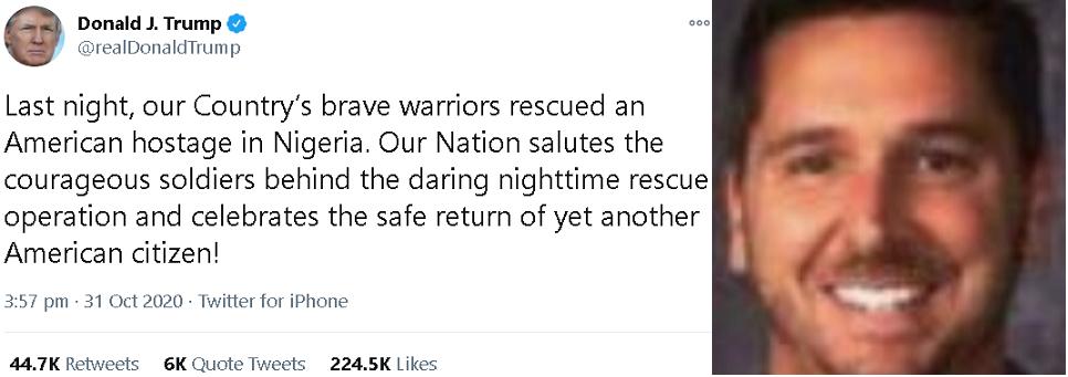 الصورة الوحيدة المتوافرة للمخطوف المحرر، وتغريدة ترمب الممجدة بعملية الانقاذ