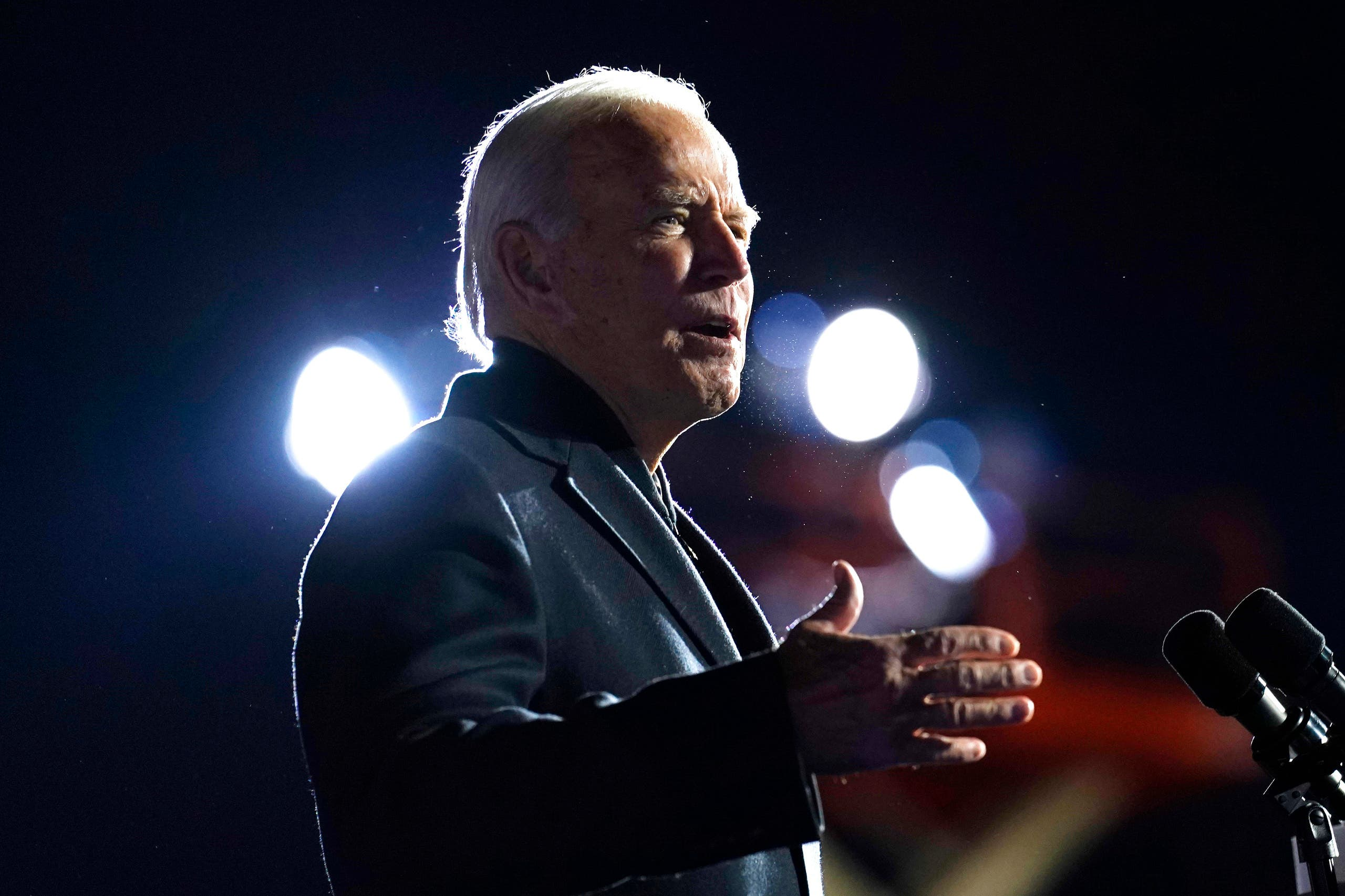 Democratic presidential candidate former Vice President Joe Biden speaks at a rally at Belle Isle Casino in Detroit, Mich., Saturday, Oct. 31, 2020. (AP)
