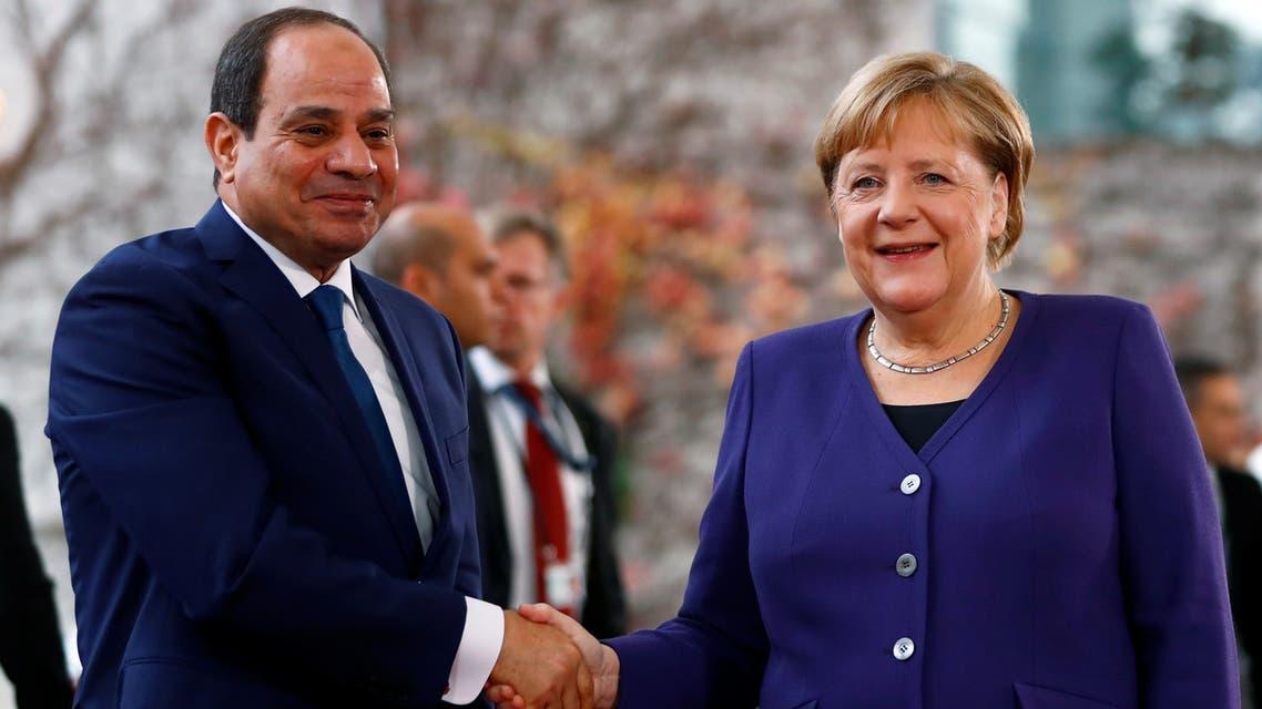 German Chancellor Angela Merkel meets Egypt's President Abdel-Fattah el-Sisi at the Chancellery in Berlin, Germany, November 20, 2019. REUTERS/Fabrizio Bensch