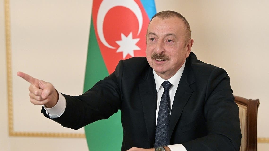 Azerbaijan's President Aliyev during an address to the nation in Baku, Azerbaijan, in this picture released October 26, 2020. (Official web-site of President of Azerbaijan/Handout via Reuters)