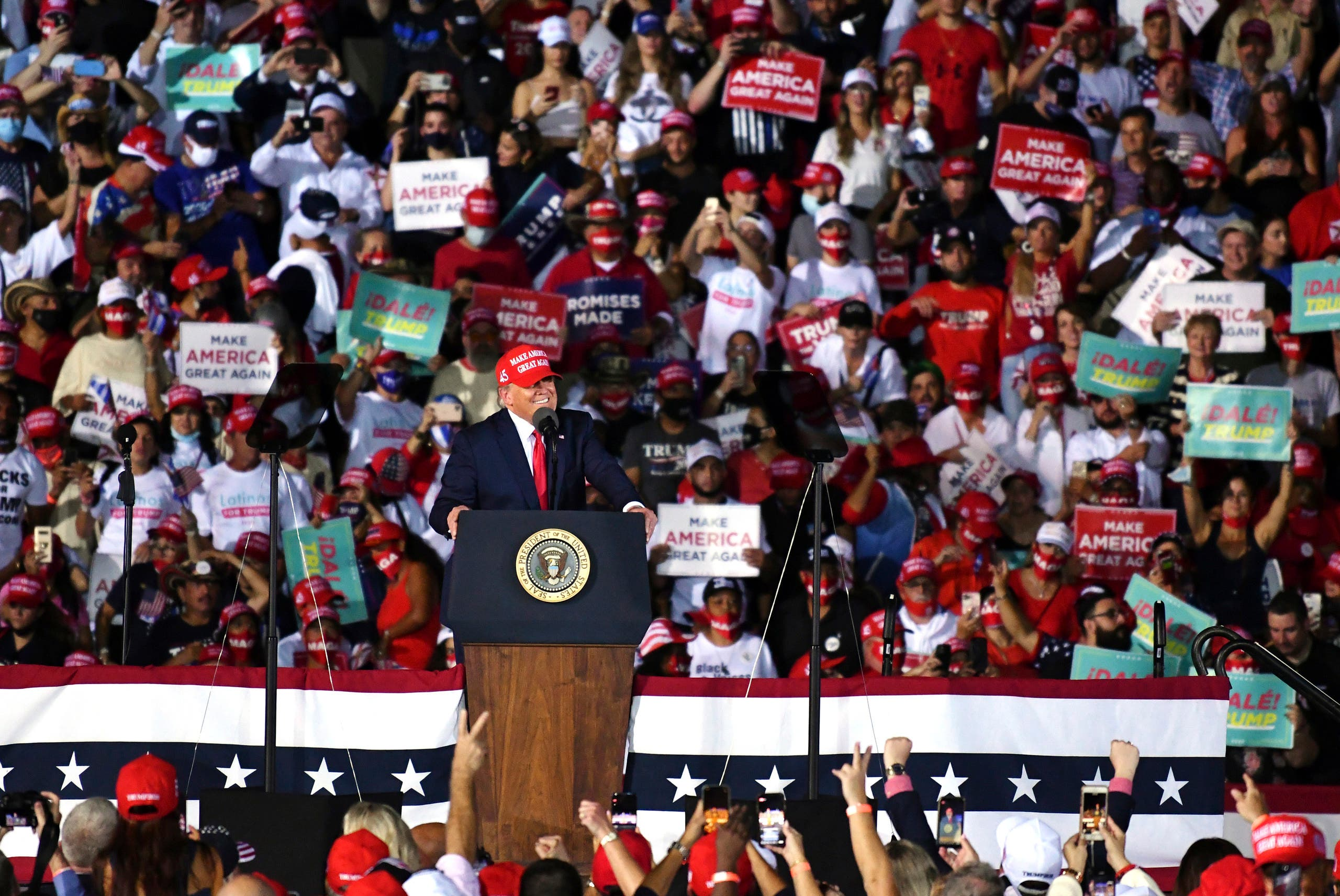 President Donald Trump speaks during a campaign rally at Opa-Locka Executive Airport. (AP)