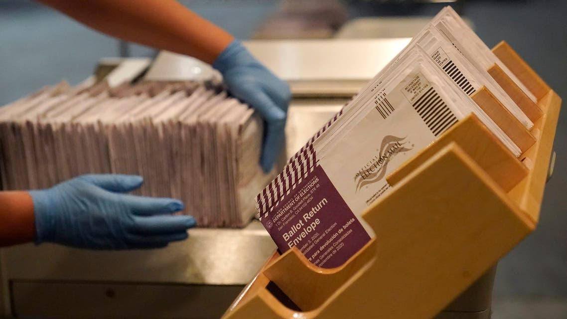 Envelopes containing ballots are shown at a San Francisco Department of Elections at a voting center in San Francisco, Sunday, Nov. 1, 2020. (AP)