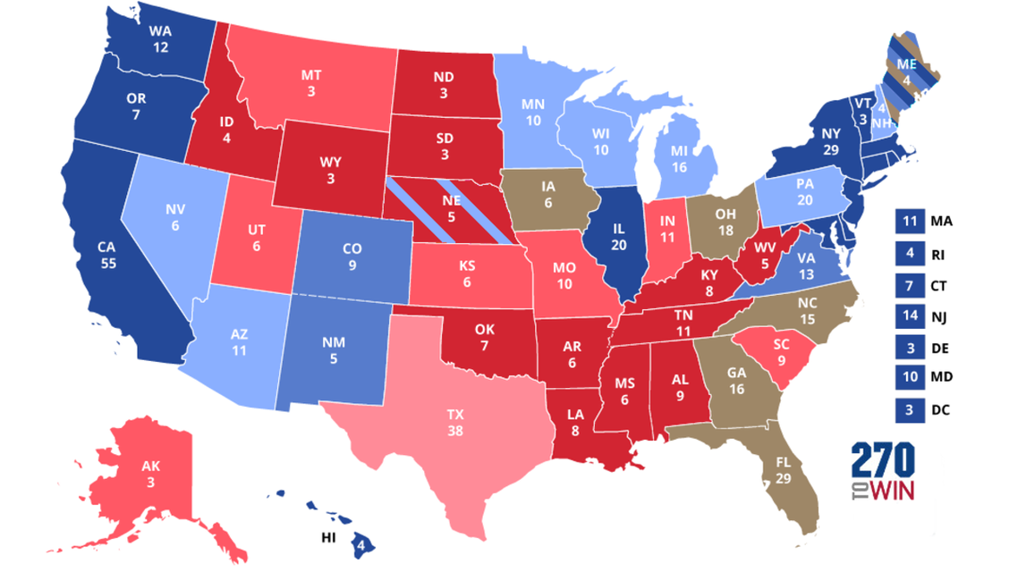 A map of the projected outcome in the Electoral College by an opinion poll. (270TOWIN)
