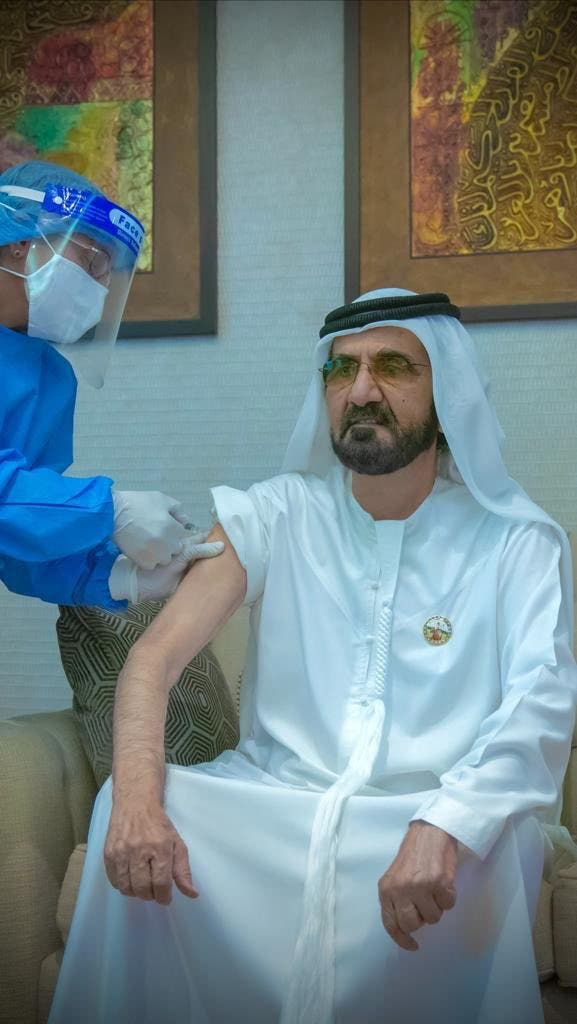 Sheikh Mohammed bin Rashid Al Maktoum receives a coronavirus vaccine. (Twitter)