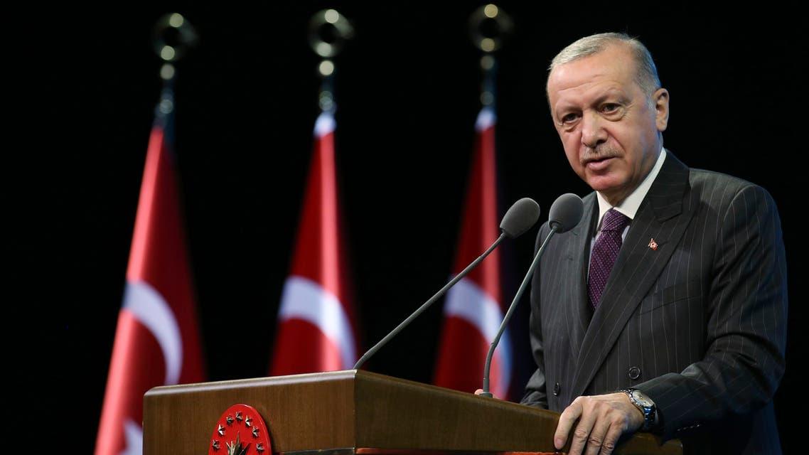 Turkey's President Recep Tayyip Erdogan, talks during an event in Ankara on Oct. 6, 2020. (AP)