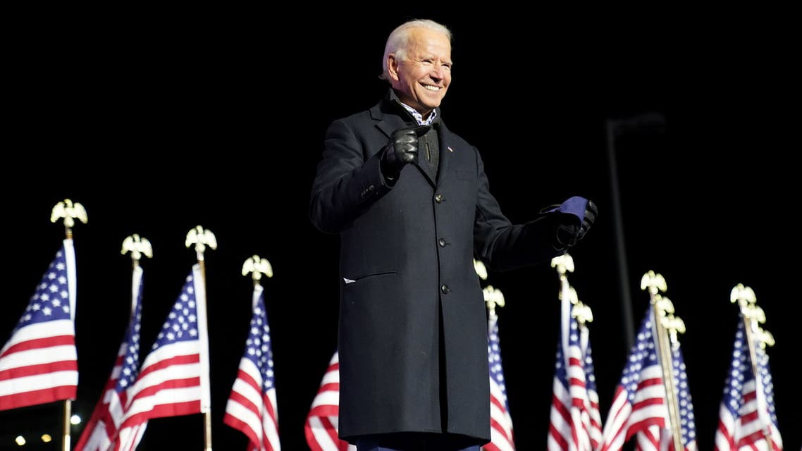 Joe Biden at a campaign rally at Heinz Field in Pittsburgh, Pennsylvania, US, November 2, 2020. (Reuters)
