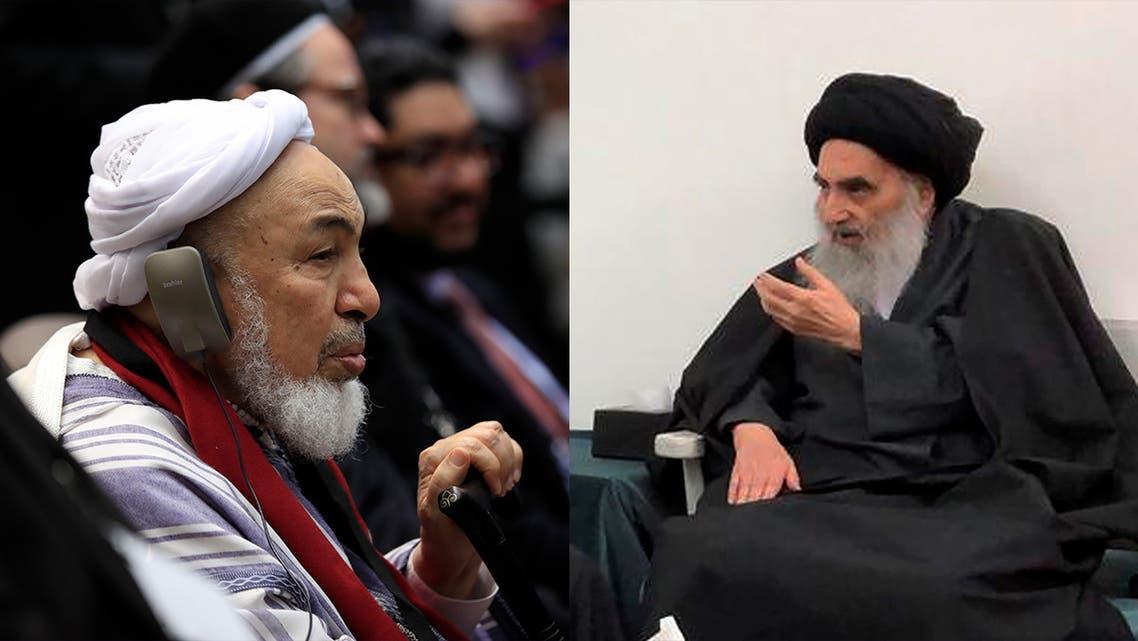 Sheikh Abdallah Bin Bayyah, left, and Sayyid Ali al-Sistani, right. (AP)