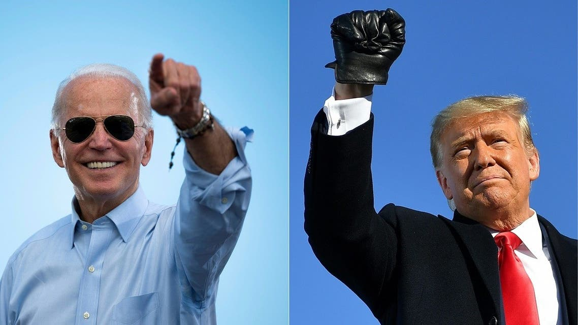 Democratic presidential candidate Joe Biden gestures prior to delivering remarks in Florida, on Oct. 29, 2020 and US President Donald Trump pumps his fist at campaign rally in Wisconsin, Oct. 30, 2020. (AFP)