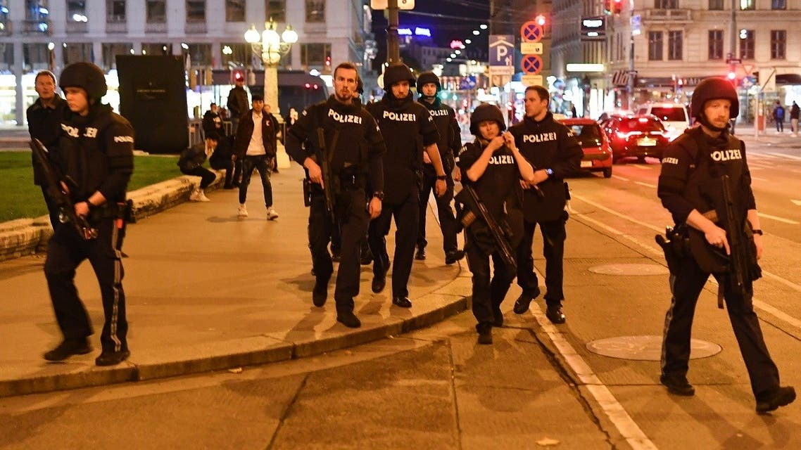 Armed police arrive at the first district near the state opera in central Vienna on November 2, 2020, following a shooting near a synagogue. (Joe Klamar/AFP)