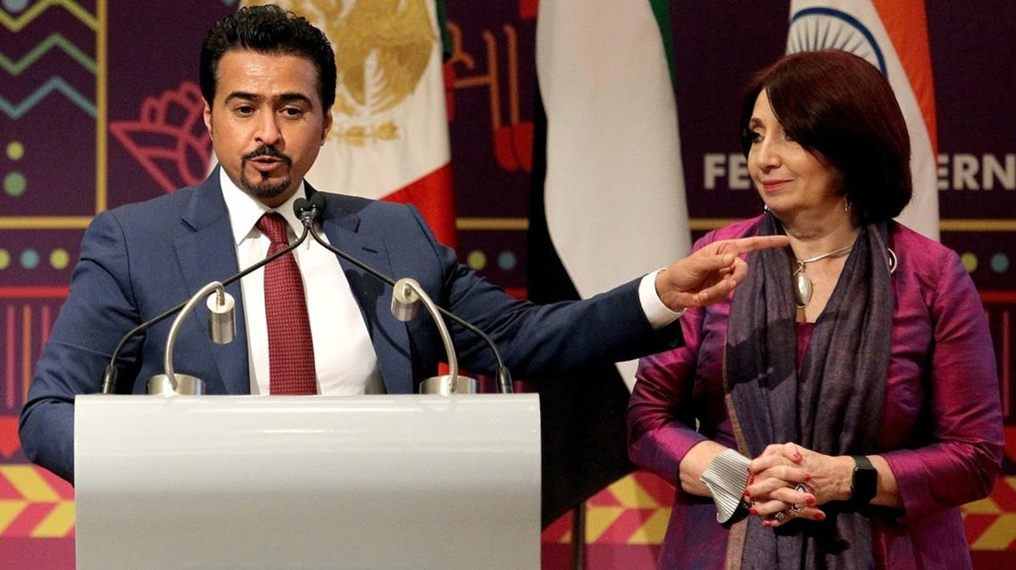 The chairman of the Sharjah Book Authority, Ahmed AL Ameri (L), speaks next to the director-general of Guadalajara International Book Fair, Marisol Schulz, during the presentation of Sharjah as a guest city of the 2020 Guadalajara International Book Fair, during the fair in Guadalajara, Mexico, on December 8, 2019. (AP)