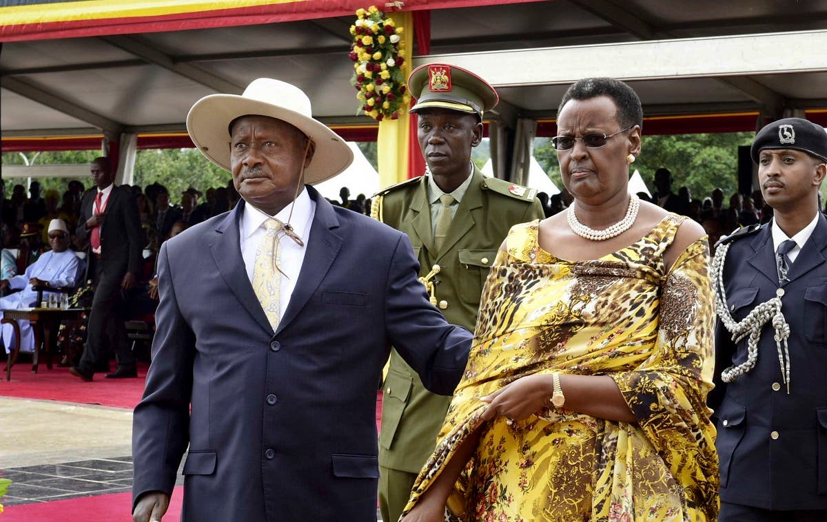 File photo of Uganda's long-time president Yoweri Museveni (left), and his wife Janet Museveni, attending his inauguration ceremony in the capital Kampala, Uganda. (AP)