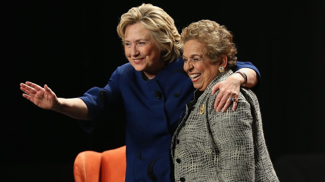 Hillary Clinton with Donna Shalala, then-president of the University of Miami on February 26, 2014 in Coral Gables, Florida.