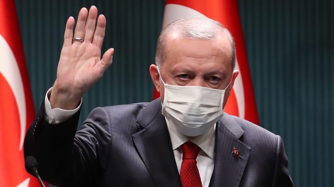 Turkish President Recep Tayyip Erdogan makes a speech after cabinet meeting at Presidential Complex in Ankara on November 3, 2020. (AFP)