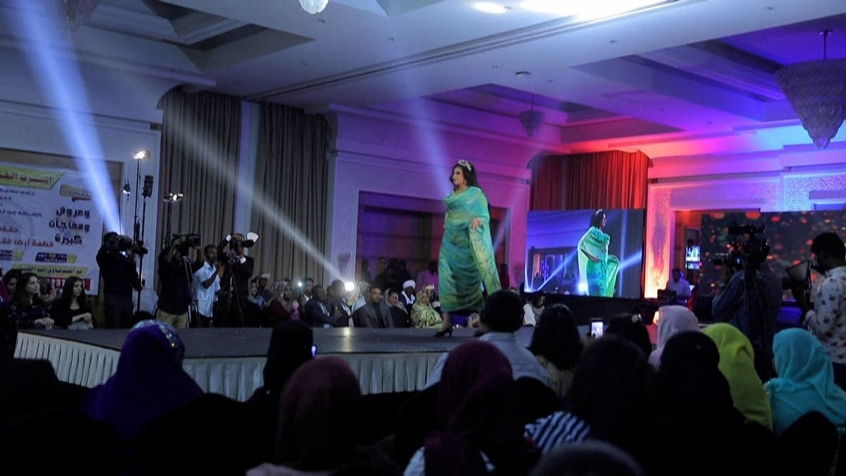 A female model parading down the catwalk during a fashion show in Khartoum, Nov. 4, 2020. (AFP)