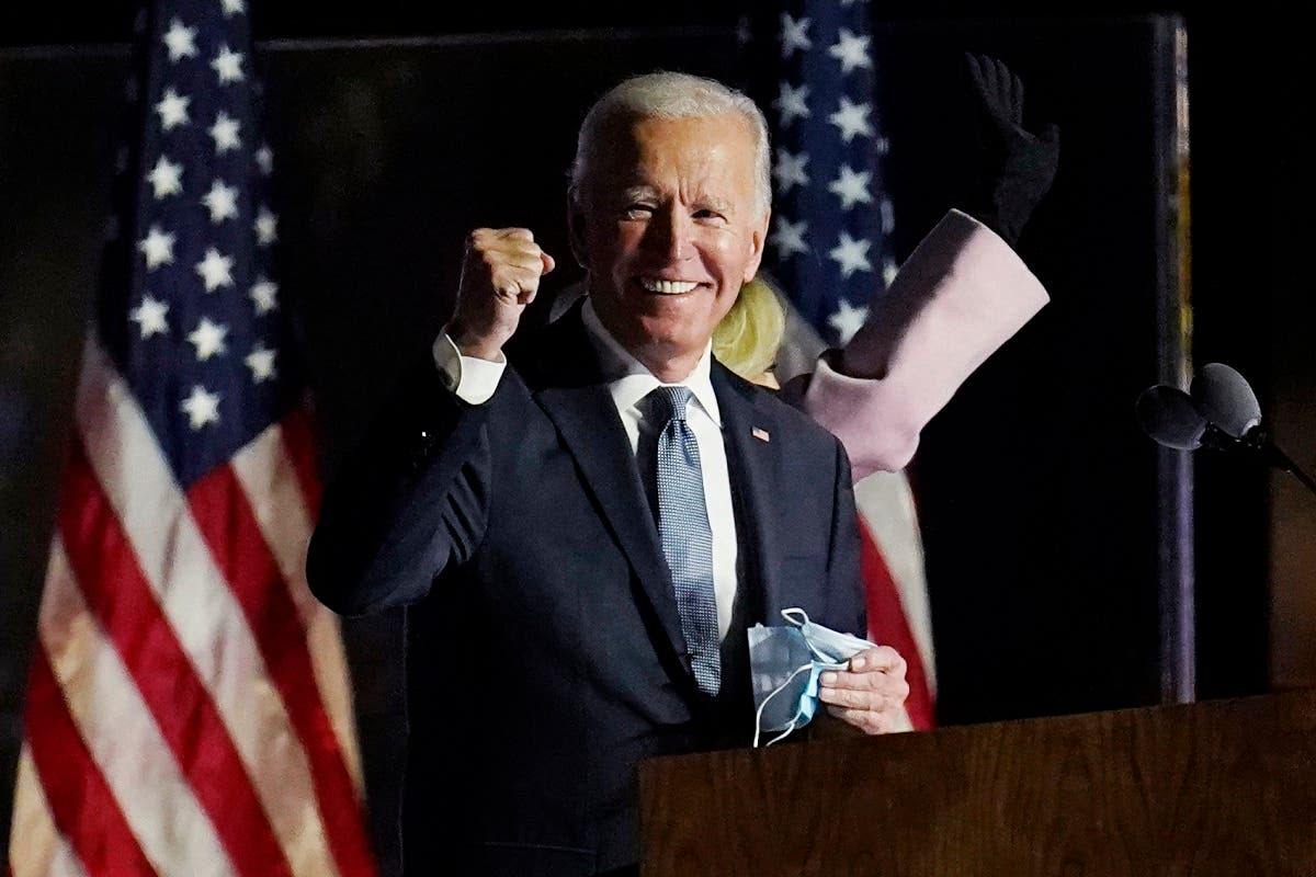 Democratic nominee Joe Biden speaks to supporters in Delaware, Nov. 4, 2020. (AP)