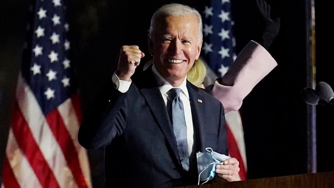 Democratic nominee Joe Biden speaks to supporters in Delaware, Nov. 4, 2020. (AP)