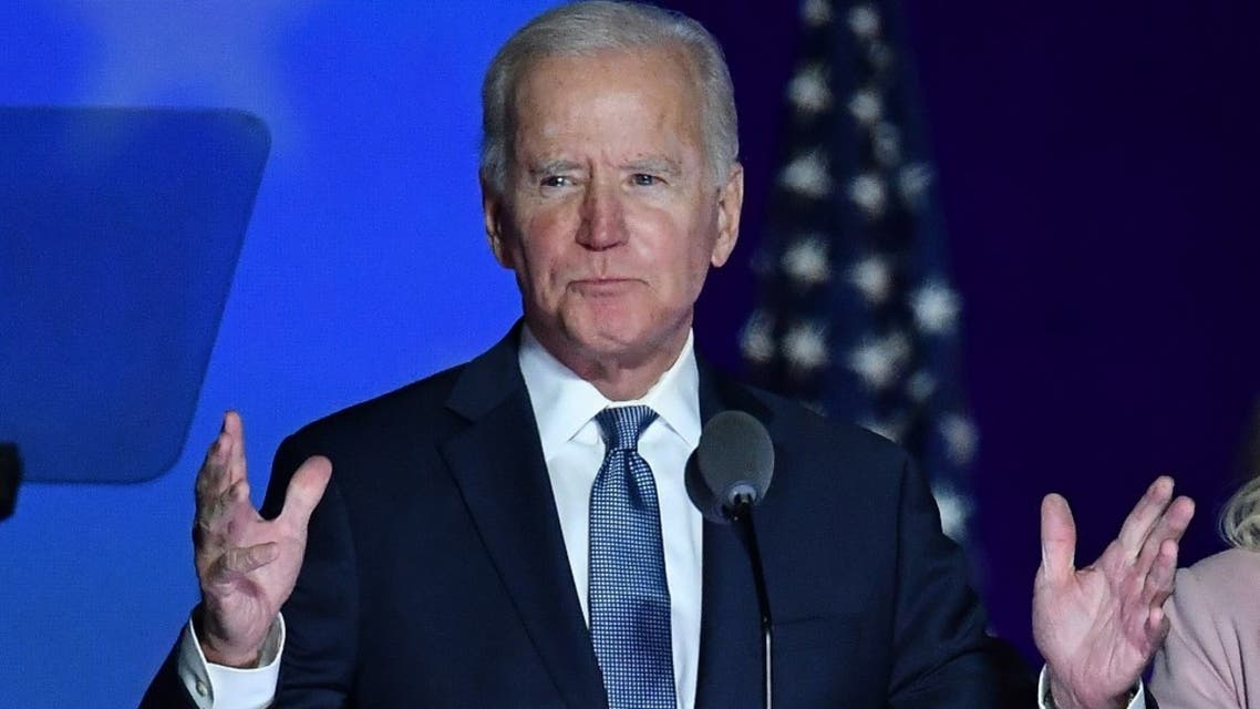 Democratic presidential nominee Joe Biden speaks during election night at the Chase Center in Wilmington, Delaware, early on November 4, 2020. (AFP)
