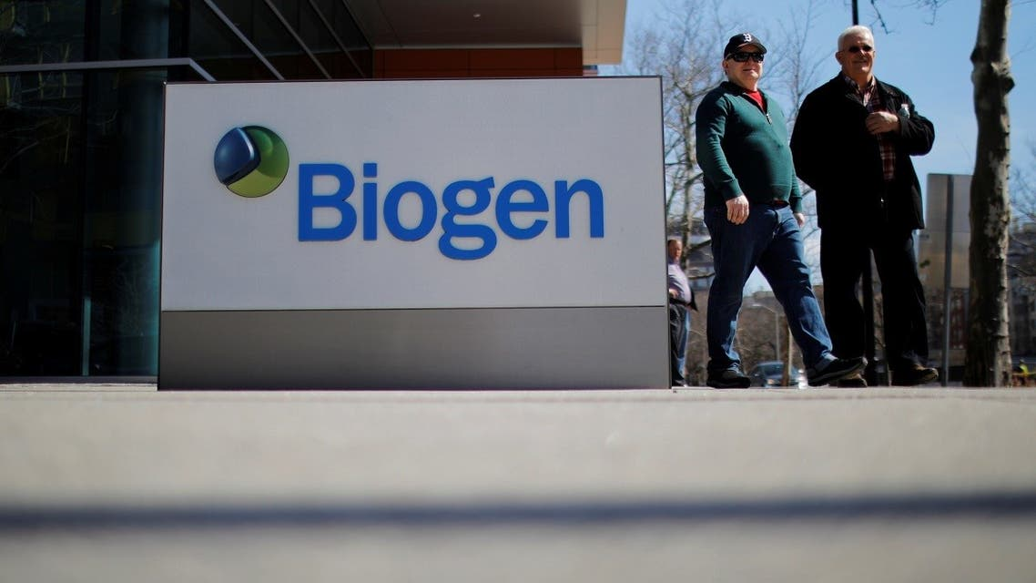 A sign marks a Biogen facility, some of whose employees have tested positive for the coronavirus after attending a meeting in Boston, in Cambridge, Massachusetts, US, March 9, 2020. (Reuters/Brian Snyder)