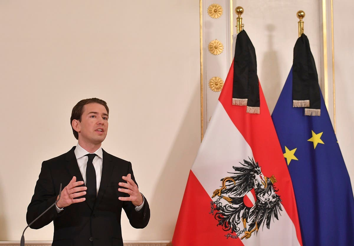 A file photo shows Austrian Chancellor Sebastian Kurz addresses a press conference at the Chancellery in Vienna on November 3, 2020. (Joe Klamar/AFP)