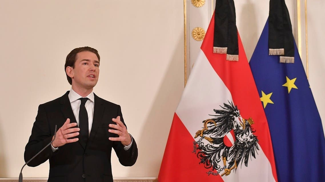 Austrian Chancellor Sebastian Kurz addresses a press conference at the Chancellery in Vienna on November 3, 2020, one day after a shooting at multiple locations across central Vienna. (Joe Klamar/AFP)