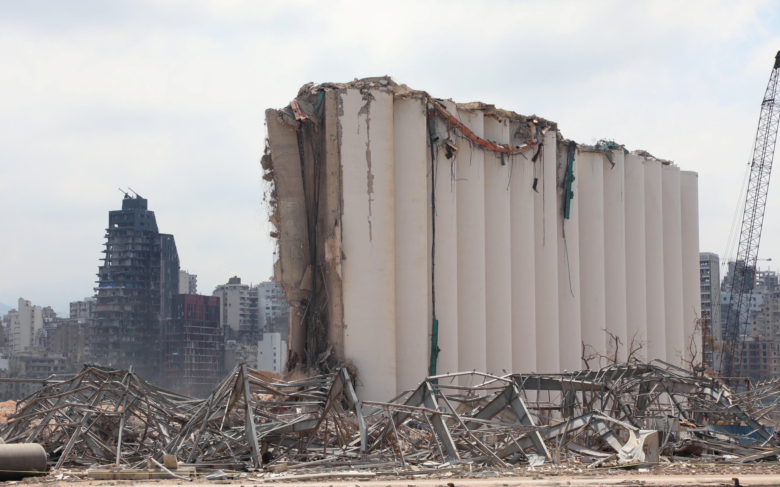 A view of the damaged grain silo following the explosion at Beirut port, in Beirut, Lebanon Aug. 26, 2020. (Reuters)