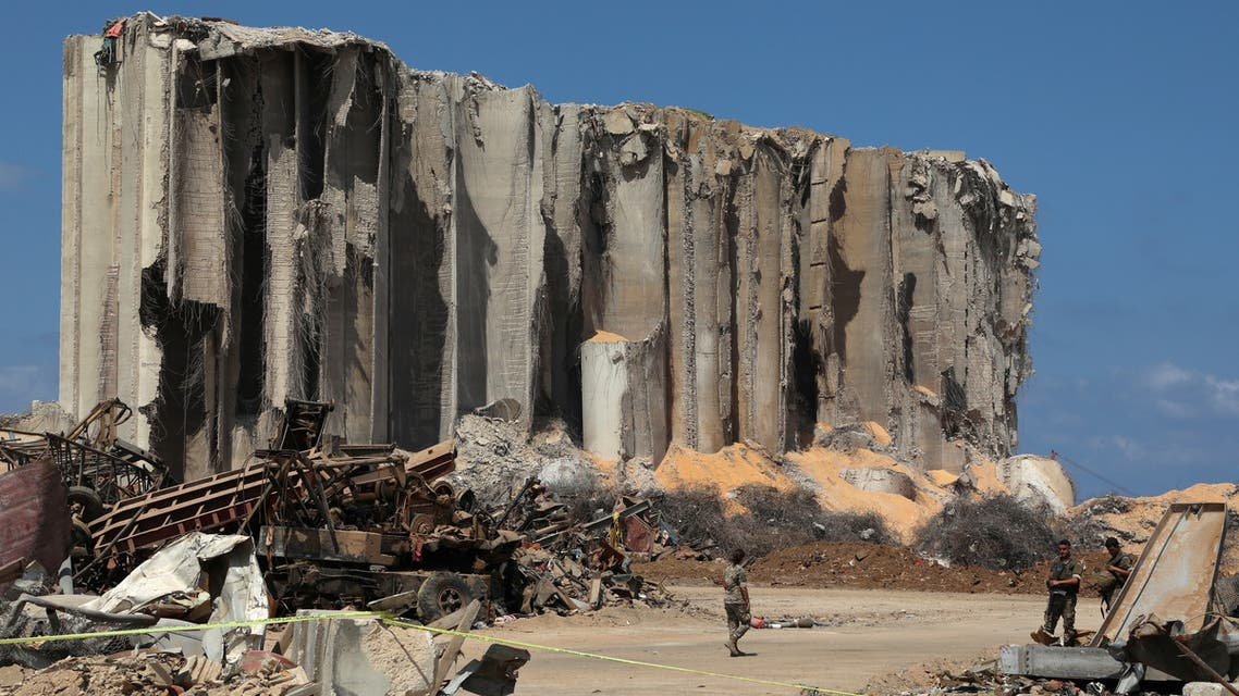 Members of the Lebanese army walk near the damaged grain silo at the Port of Beirut, Aug. 26, 2020. (Reuters)