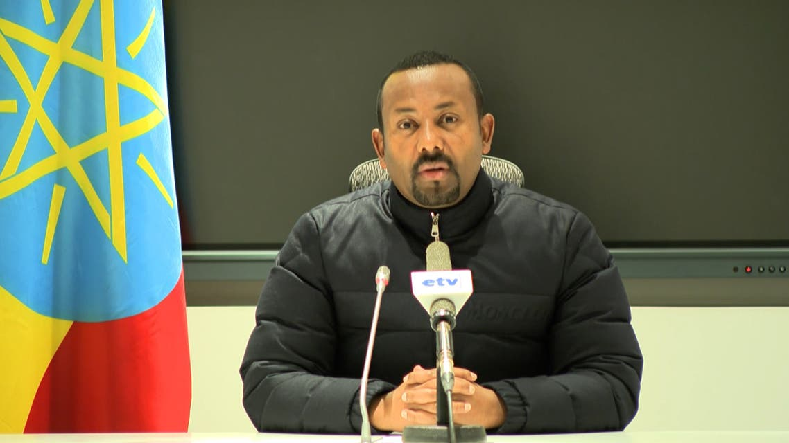 An Ethiopian Public Broadcaster (EBC) transmission on November 4, 2020, showing Ethiopian Prime Minister Abiy Ahmed saying that he is ordering military action in the Tigray region