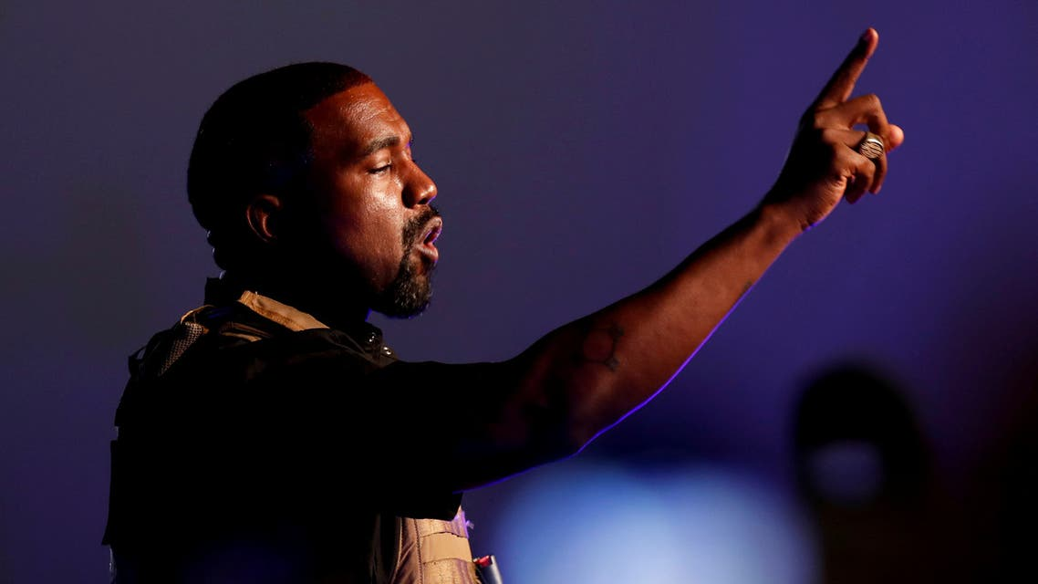 FILE PHOTO: Rapper Kanye West makes a point as he holds his first rally in support of his presidential bid in North Charleston, South Carolina, U.S. July 19, 2020. REUTERS/Randall Hill/File Photo