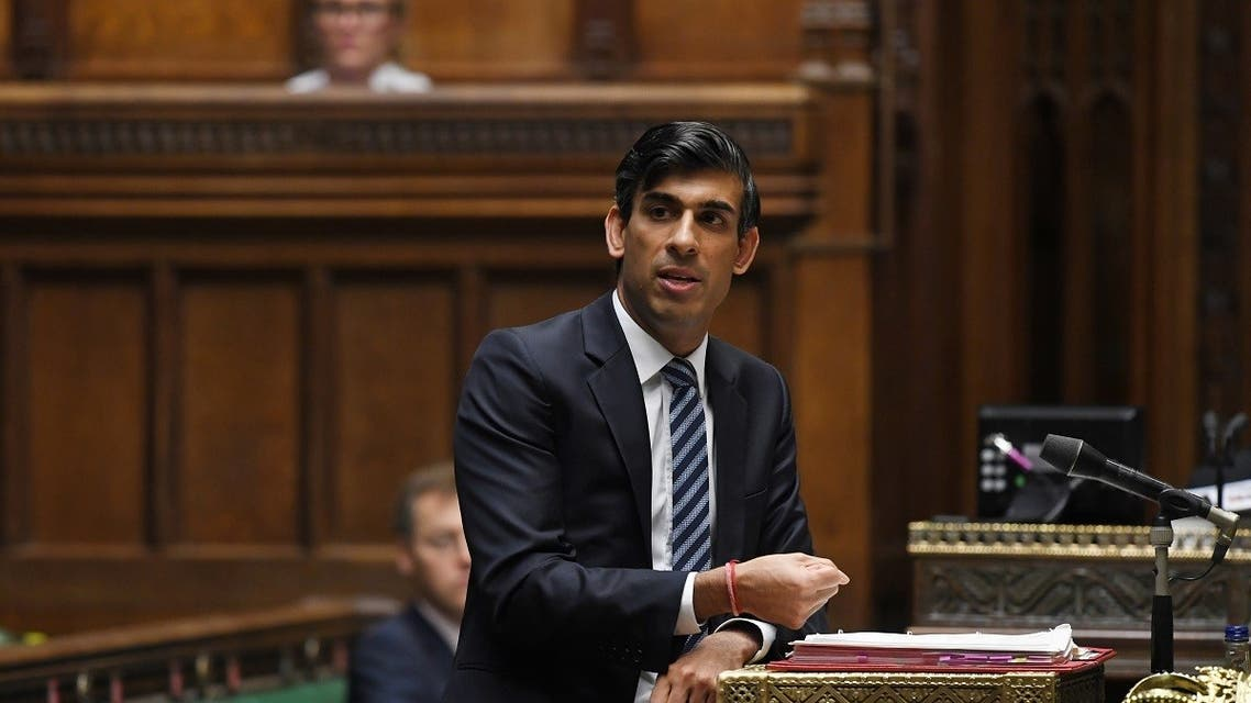 Britain's Chancellor of the Exchequer Rishi Sunak speaks at the House of Commons in London, on October 22, 2020. (Reuters)
