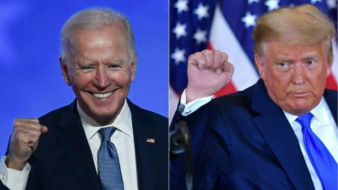 Democratic presidential nominee Joe Biden (L) in Wilmington, Delaware, and US President Donald Trump (R) in Washington, DC both pumping their fist during an election night speech early November 4, 2020. (AFP)