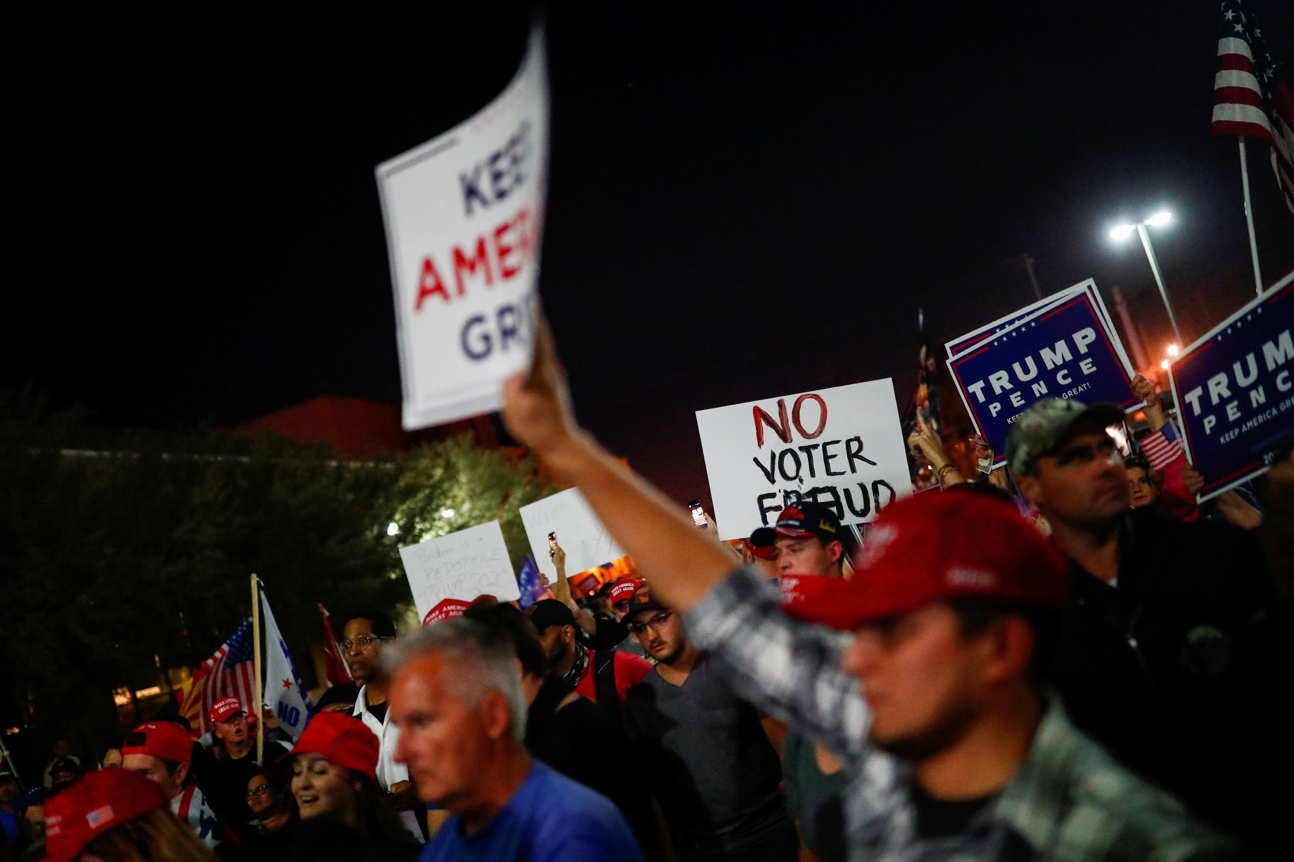 Supporters of President Donald Trump in Phoenix, Arizona, November 4, 2020. (Reuters)