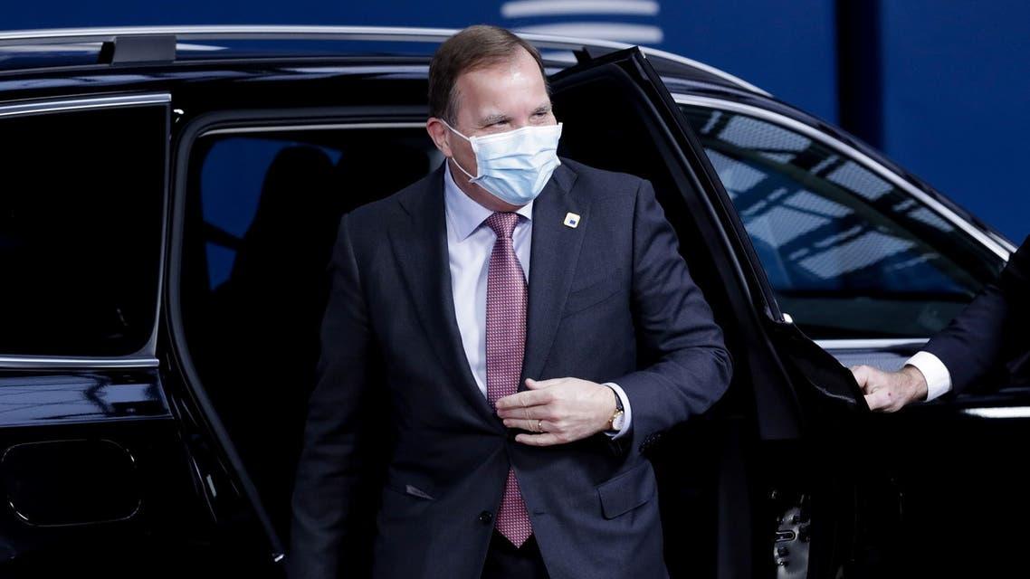 Sweden's Prime Minister Stefan Lofven arrives for day two of an EU summit in Brussels, Belgium October 16, 2020. Olivier Hoslet/Pool via REUTERS