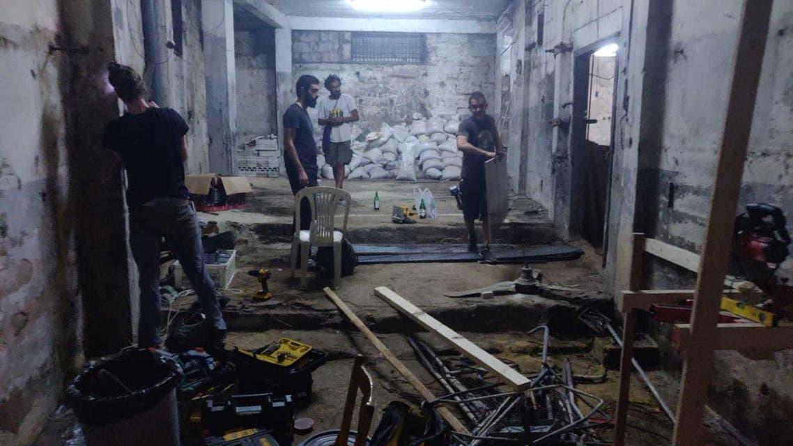 The Dream Team assembles panels at their workshop in Beirut, Lebanon. (Supplied: Rayan Khatoun)