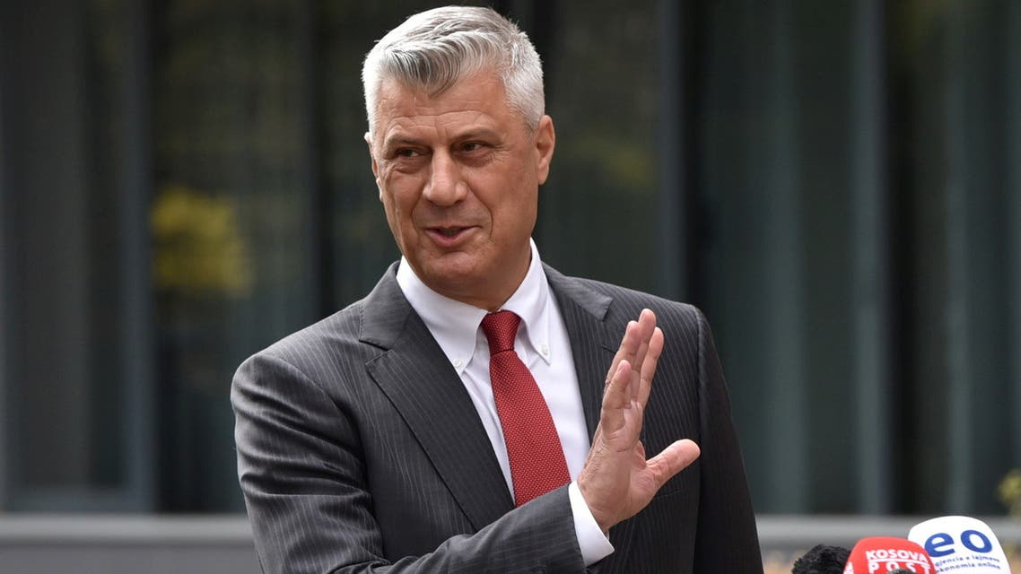 Kosovo's President Hashim Thaci is pictured during a news conference as he resigns to face war crimes charges at a special court based in the Hague, in Pristina, Kosovo, November 5, 2020. REUTERS/Laura Hasani REFILE - CORRECTING INFORMATION