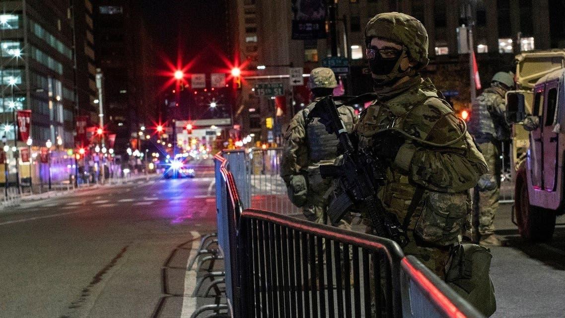 National Guard members stand guard near Philadelphia City Hall, Nov. 6, 2020. (Reuters)