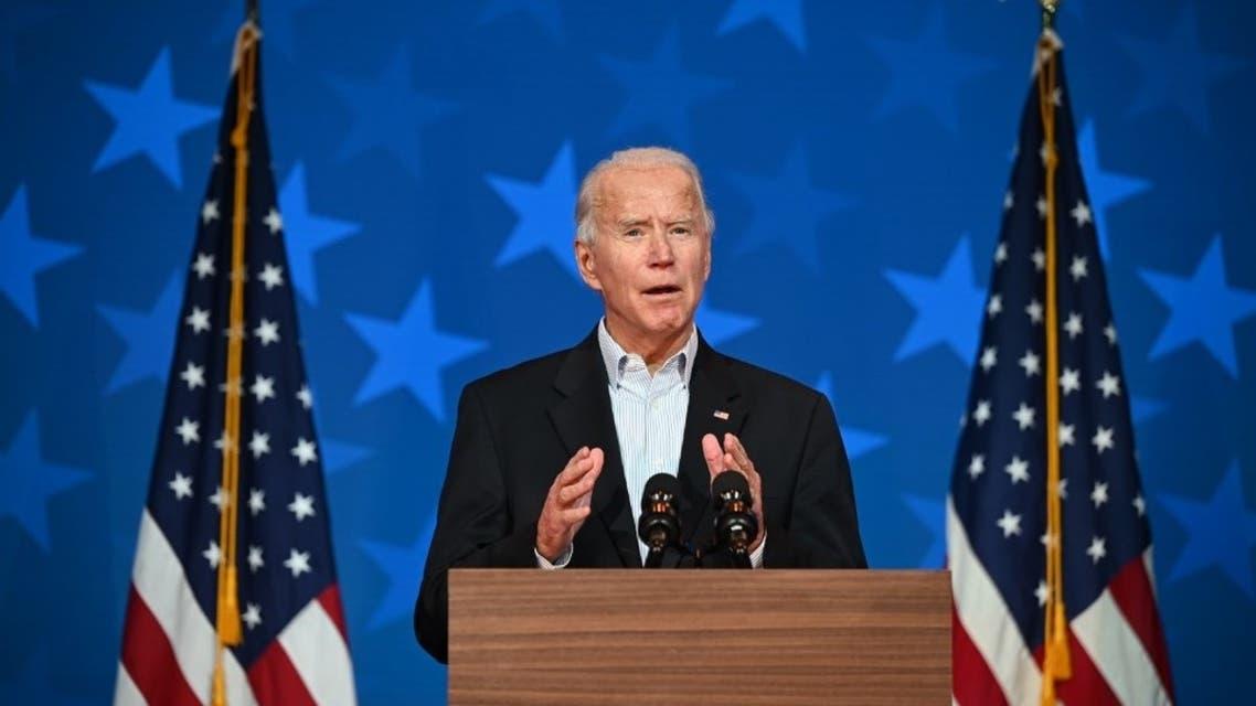 Democratic Presidential candidate Joe Biden speaks at the Queen venue in Wilmington, Delaware, on November 5, 2020. (AFP)