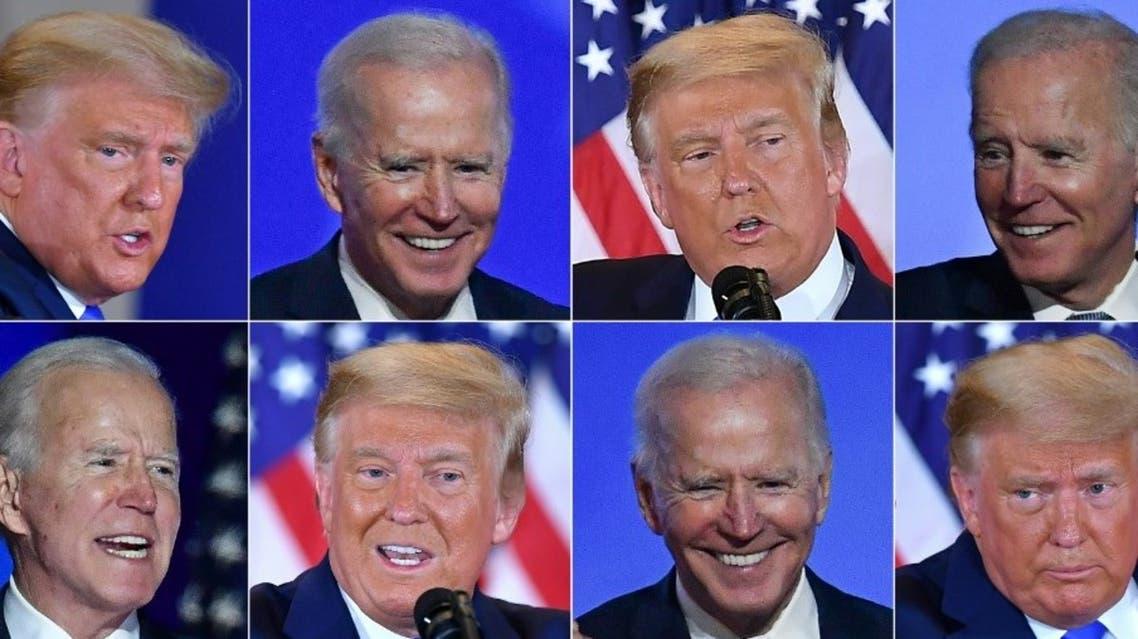 Democratic presidential nominee Joe Biden and US President Donald Trump on November 4, 2020. (AFP)