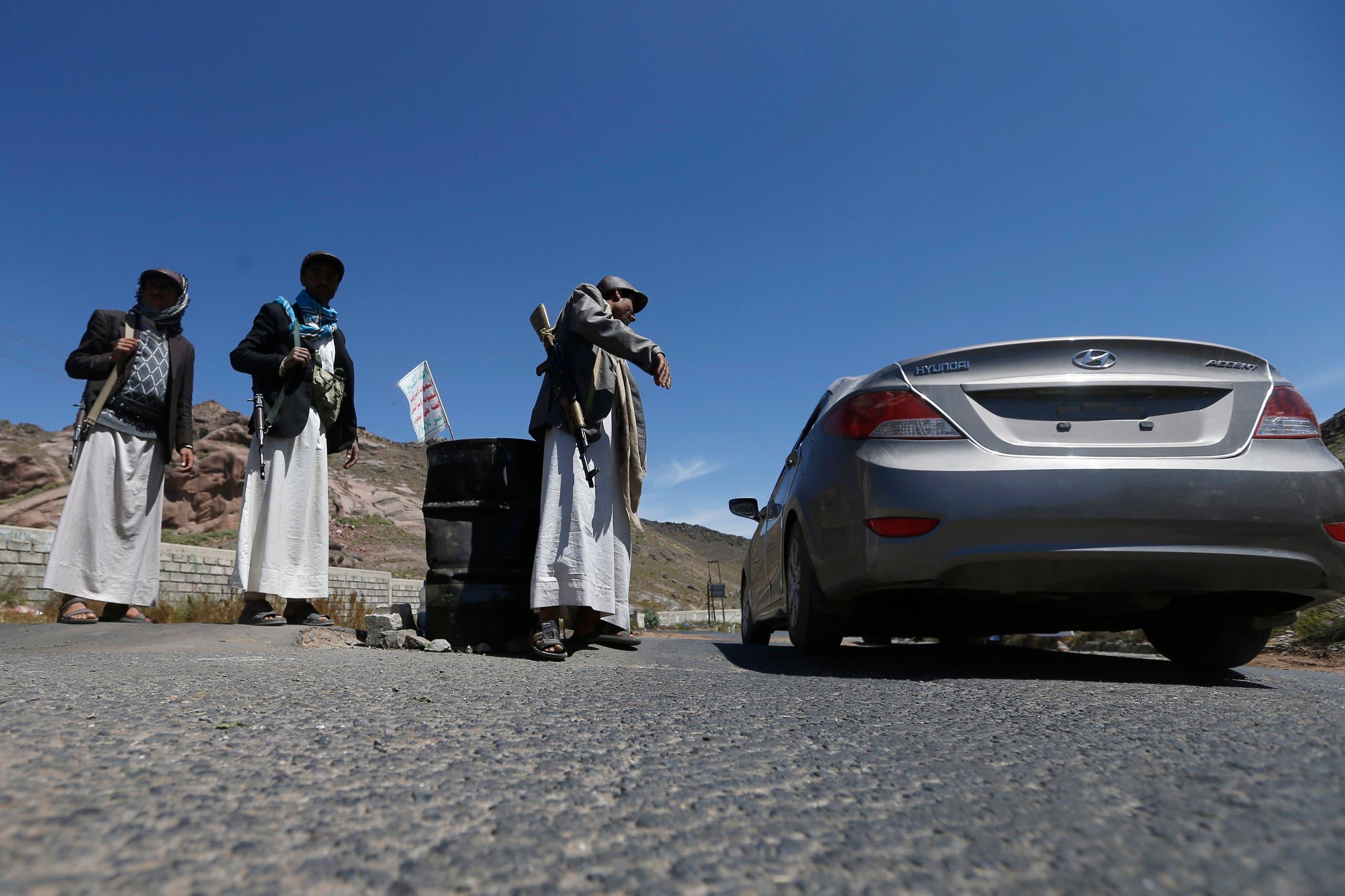 حاجز للحوثيين في إب (أرشيفية)