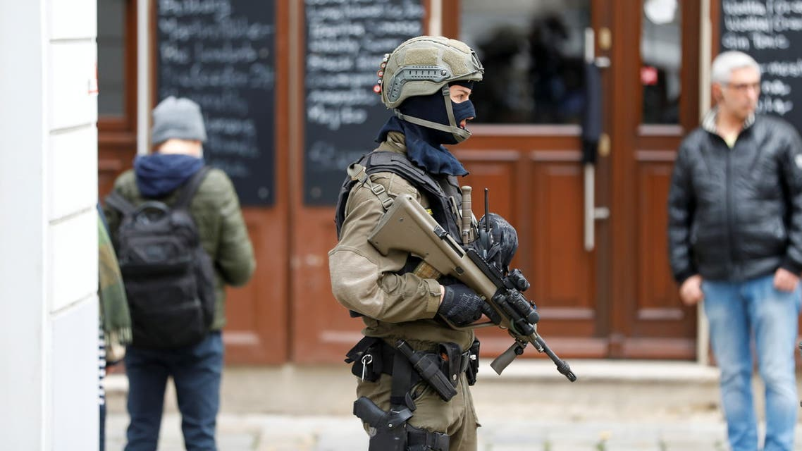 An armed member of special forces stands guard near the site of a gun attack in Vienna, Austria, November 4, 2020. (Reuters)