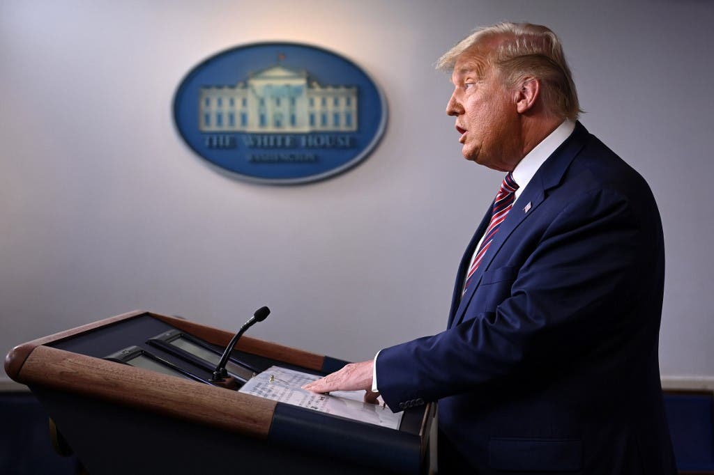 US President Donald Trump speaks in the Brady Briefing Room at the White House in Washington, DC on November 5, 2020. (AFP)