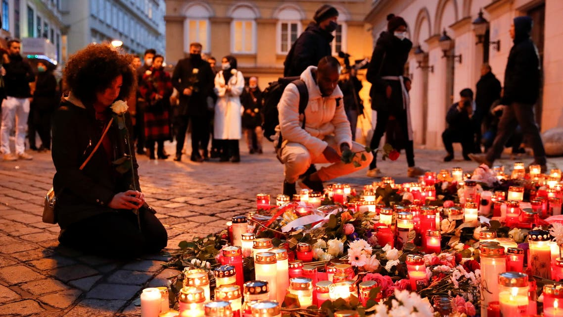 People pay respect on the site of a gun attack in Vienna, Austria, November 4, 2020. REUTERS/Leonhard Foeger
