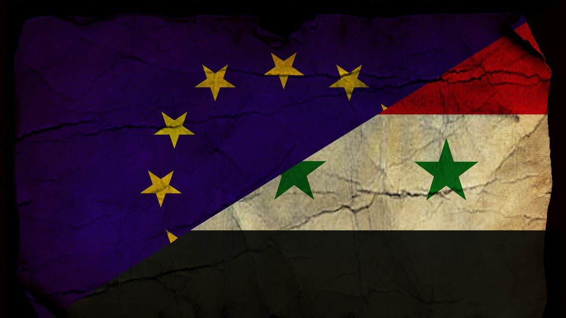 European Union and Syrian flag stock photo