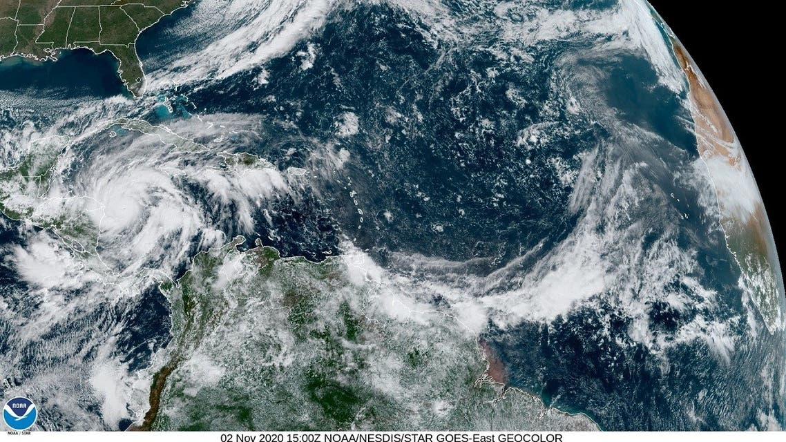 Hurricane Eta is seen churning in the Caribbean Sea toward Nicaragua in this satellite image taken November 2, 2020 over the Gulf of Mexico. (US National Oceanic and Atmospheric Administration (NOAA)/Handout via Reuters)