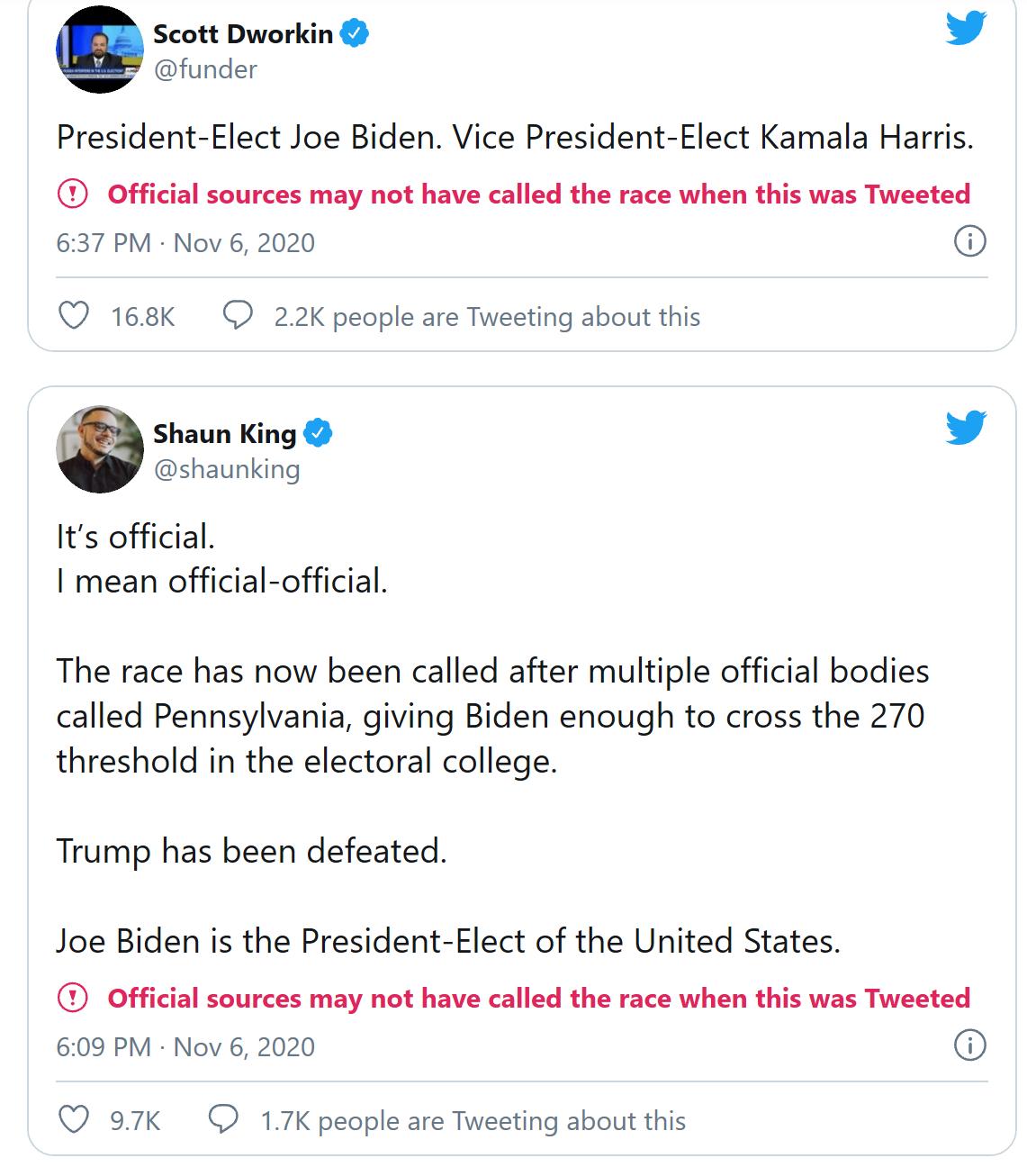الإشارة التي وضعها تويتر على التغريدات التي وصفت بايدن بالرئيس المنتخب