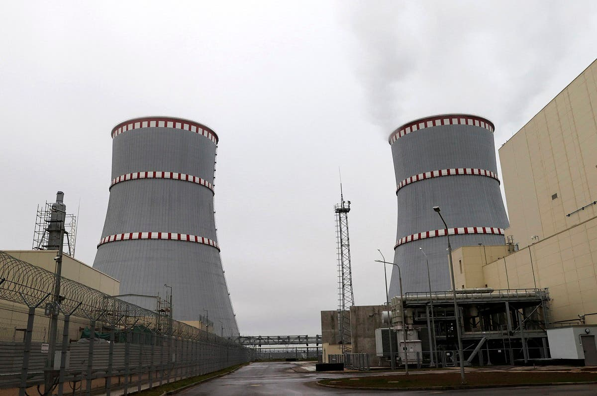 General view of the first Belarusian Nuclear Power Plant during the plant's power launch event outside the city of Astravets, Belarus, Saturday, Nov. 7, 2020. (Maxim Guchek/BelTA Pool Photo via AP)