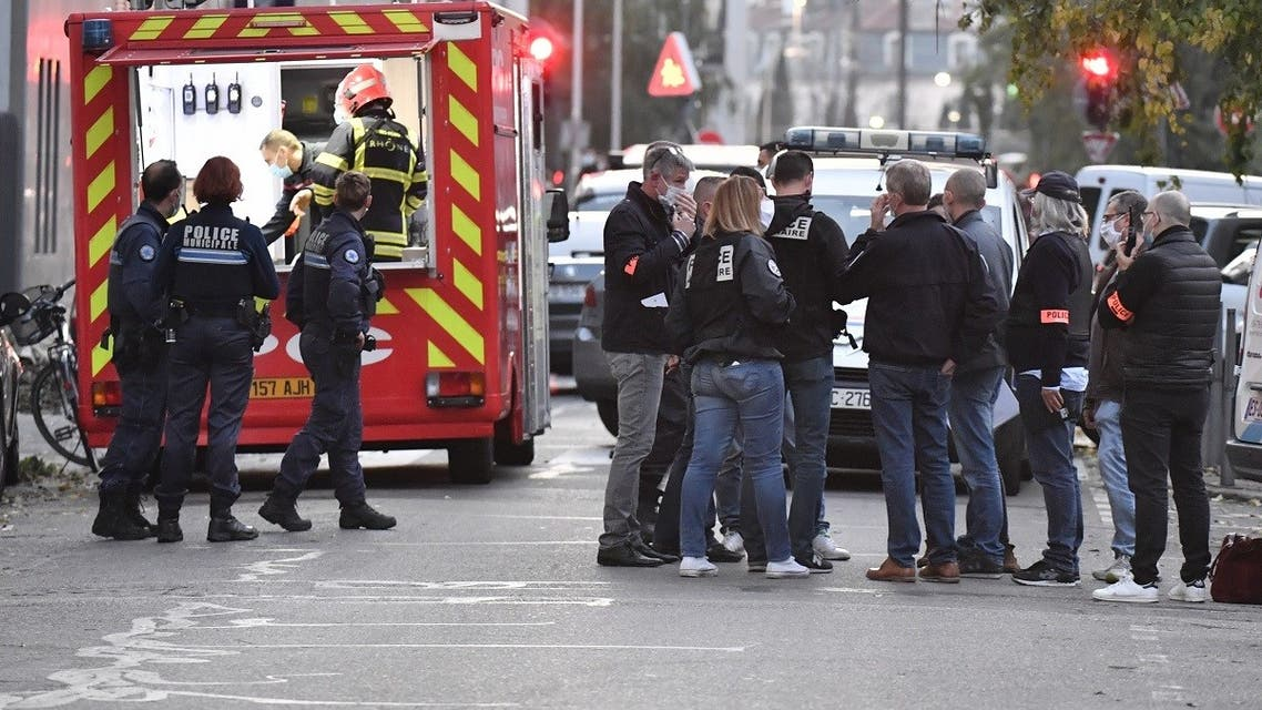 Security and emergency personnel are in Lyon at the scene where an attacker shot an Orthodox priest before fleeing, on October 31, 2020. (Philippe Desmazes/AFP)
