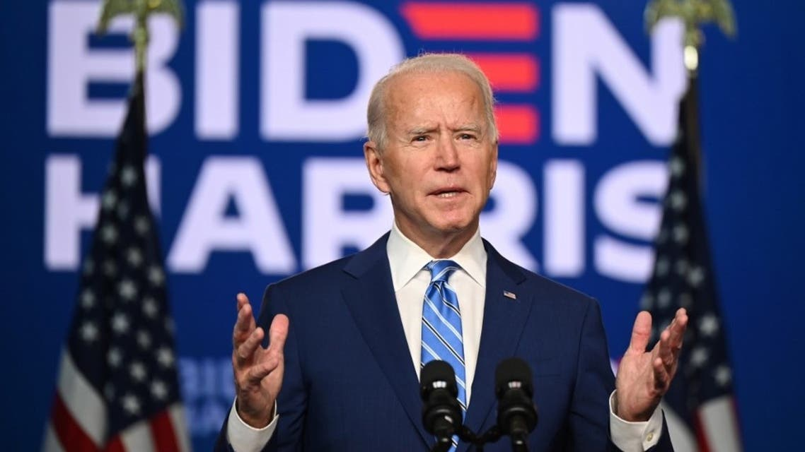 Joe Biden speaks at the Chase Center in Wilmington, Delaware on November 4, 2020. (AFP)