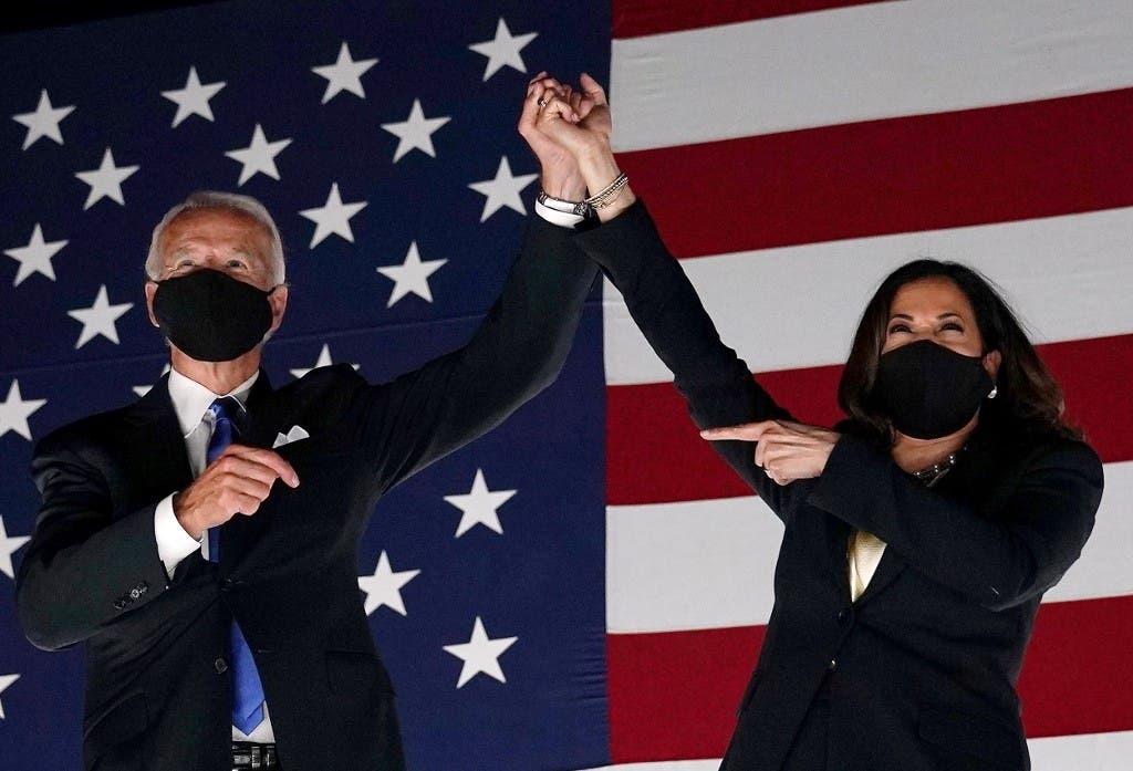 President-elect Joe Biden (L) and VP-elect Kamala Harris in Delaware. (AFP)