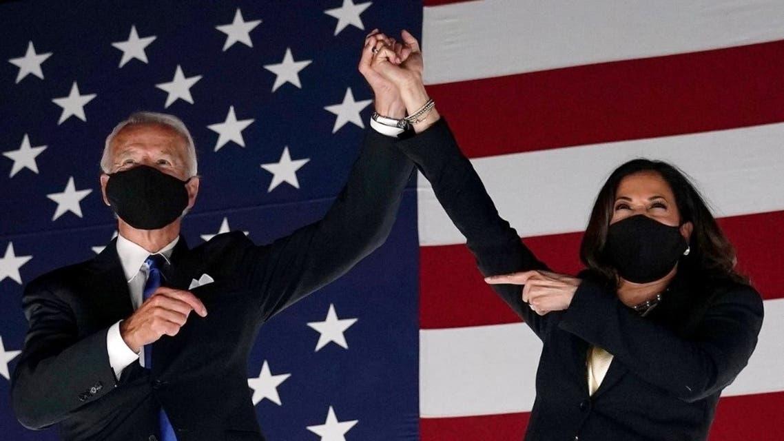 Democratic presidential nominee Joe Biden (L) and Democratic vice presidential nominee Kamala Harris in Delaware. (AFP)
